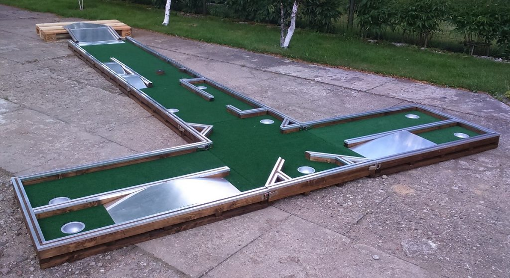 Mini golf lane for office and yard. Nine holes in one game